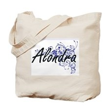 Alondra Artistic Name Design with Flowers Tote Bag