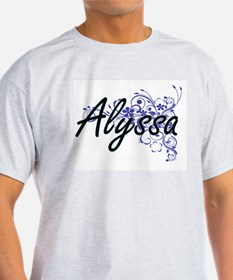 Alyssa Artistic Name Design with Flowers T-Shirt
