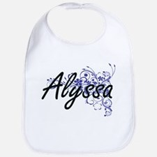 Alyssa Artistic Name Design with Flowers Bib