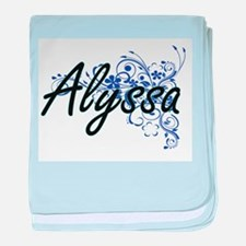 Alyssa Artistic Name Design with Flow baby blanket