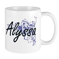 Alyssa Artistic Name Design with Flowers Mugs