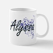 Alyssa Artistic Name Design with Flowers Mugs