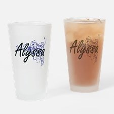 Alyssa Artistic Name Design with Fl Drinking Glass