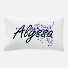 Alyssa Artistic Name Design with Flowe Pillow Case