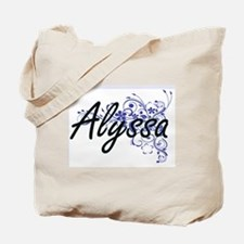 Alyssa Artistic Name Design with Flowers Tote Bag