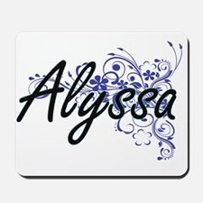 Alyssa Artistic Name Design with Flowers Mousepad