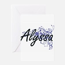 Alyssa Artistic Name Design with Fl Greeting Cards