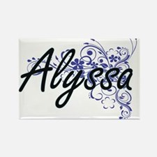 Alyssa Artistic Name Design with Flowers Magnets