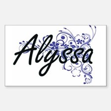 Alyssa Artistic Name Design with Flowers Decal