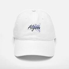 Alyssa Artistic Name Design with Flowers Baseball Baseball Cap