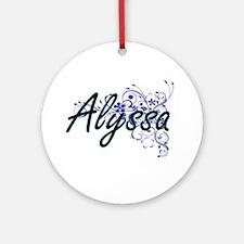 Alyssa Artistic Name Design with Fl Round Ornament