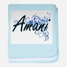 Amani Artistic Name Design with Flowe baby blanket