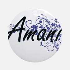 Amani Artistic Name Design with Flo Round Ornament