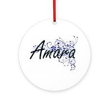 Amara Artistic Name Design with Flo Round Ornament