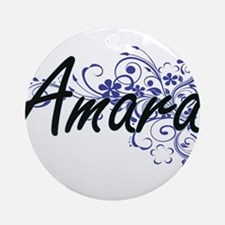 Amara Artistic Name Design with Flo Round Ornament