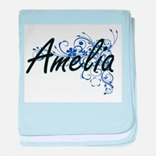 Amelia Artistic Name Design with Flow baby blanket