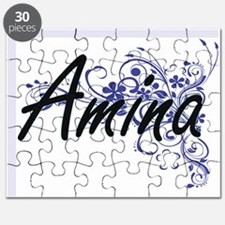Amina Artistic Name Design with Flowers Puzzle