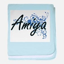 Amiya Artistic Name Design with Flowe baby blanket
