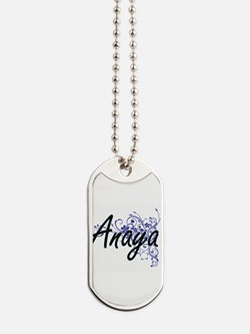Anaya Artistic Name Design with Flowers Dog Tags