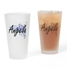 Angela Artistic Name Design with Fl Drinking Glass