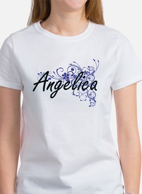 Angelica Artistic Name Design with Flowers T-Shirt