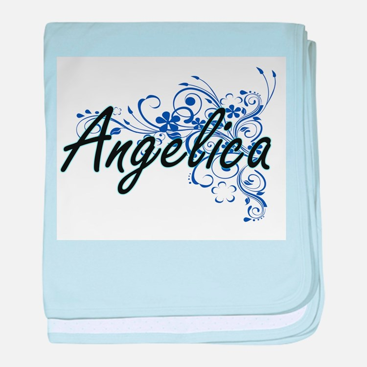 Angelica Artistic Name Design with Fl baby blanket
