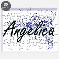 Angelica Artistic Name Design with Flowers Puzzle