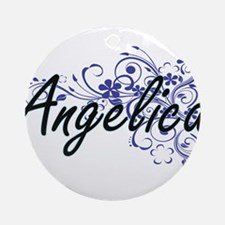 Angelica Artistic Name Design with Round Ornament