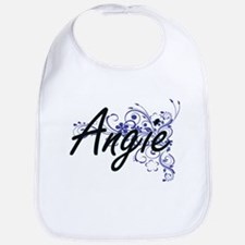 Angie Artistic Name Design with Flowers Bib