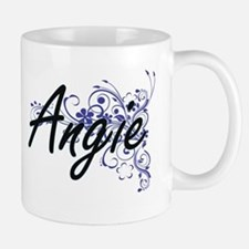 Angie Artistic Name Design with Flowers Mugs