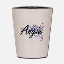 Angie Artistic Name Design with Flowers Shot Glass