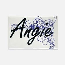 Angie Artistic Name Design with Flowers Magnets
