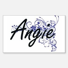 Angie Artistic Name Design with Flowers Decal