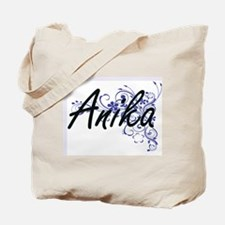 Anika Artistic Name Design with Flowers Tote Bag