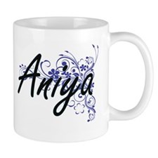 Aniya Artistic Name Design with Flowers Mugs