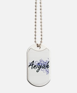 Aniyah Artistic Name Design with Flowers Dog Tags