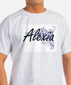 Alexia Artistic Name Design with Flowers T-Shirt
