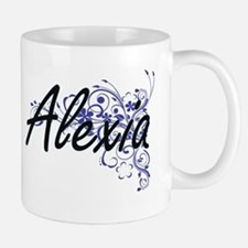 Alexia Artistic Name Design with Flowers Mugs