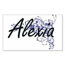 Alexia Artistic Name Design with Flowers Decal