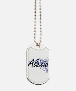 Alexia Artistic Name Design with Flowers Dog Tags