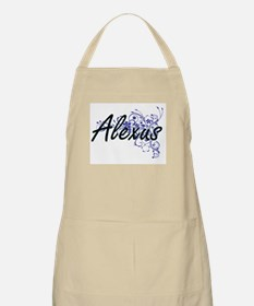 Alexus Artistic Name Design with Flowers Apron