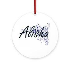 Alisha Artistic Name Design with Fl Round Ornament
