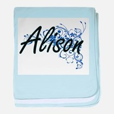 Alison Artistic Name Design with Flow baby blanket