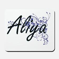 Aliya Artistic Name Design with Flowers Mousepad