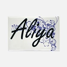 Aliya Artistic Name Design with Flowers Magnets