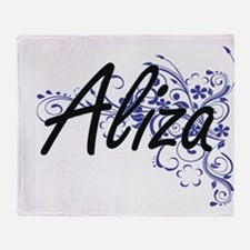 Aliza Artistic Name Design with Flow Throw Blanket