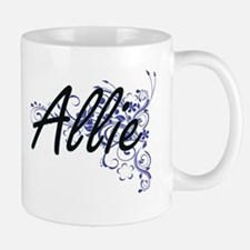 Allie Artistic Name Design with Flowers Mugs