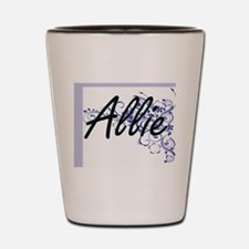 Allie Artistic Name Design with Flowers Shot Glass