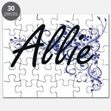 Allie Artistic Name Design with Flowers Puzzle