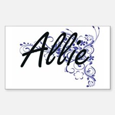 Allie Artistic Name Design with Flowers Decal